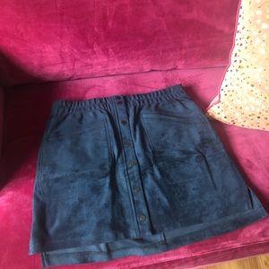 BCBG MAX AZRIA Blue faux suede mini skirt